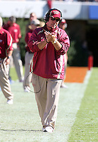 Oct 2, 2010; Charlottesville, VA, USA; Florida State head coach Jimbo Fisher reacts to a call during the game against the Virginia Cavaliers at Scott Stadium. Florida State won 34-14.  Mandatory Credit: Andrew Shurtleff-
