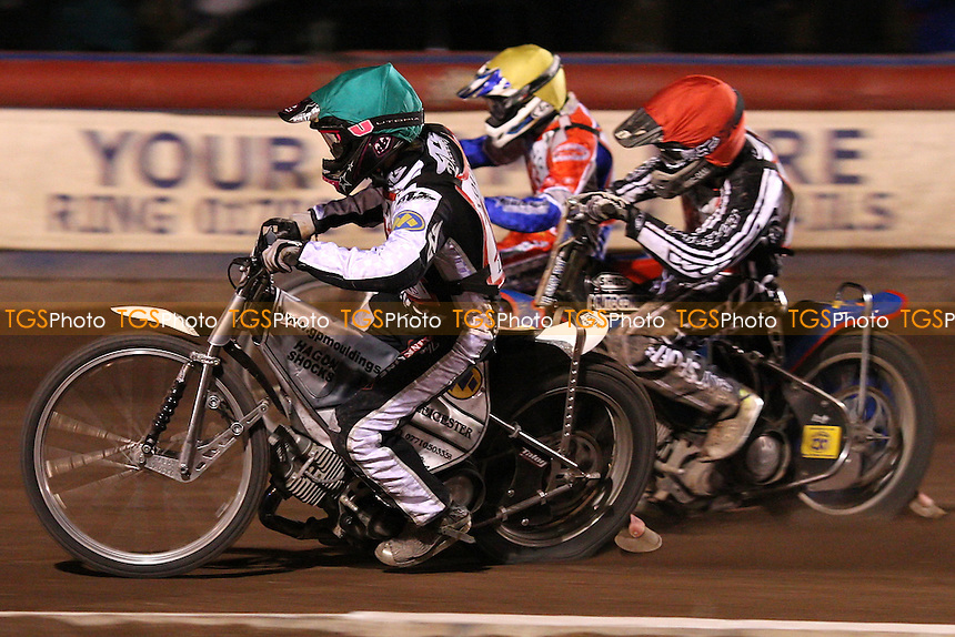 Heat 17: Daniel Halsey (green), Lee Strudwick (red) and Adam Roynon (yellow) - British U21 Speedway Championship at The Arena Essex Raceway, Lakeside - 25/04/08 - MANDATORY CREDIT: Rob Newell/TGSPHOTO