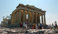 Aug 12, 2004 - ATHENS, GREECE - Tourists roam the grounds at the Acropolis in Athens, Greece. The historic Acropolis is visible from most of the city..(Credit Image: © ALAN GRETH)