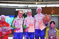 SCHAATSEN: BERLIJN: Sportforum, 08-12-2013, Essent ISU World Cup, podium Team Pursuit Ladies, Ireen Wüst, Marrit Leenstra,  Jorien ter Mors (NED), ©foto Martin de Jong