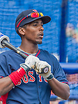 8 March 2015: Boston Red Sox infielder Jemile Weeks awaits his turn in the batting cage prior to a Spring Training game against the New York Mets at Tradition Field in Port St. Lucie, Florida. The Mets fell to the Red Sox 6-3 in Grapefruit League play. Mandatory Credit: Ed Wolfstein Photo *** RAW (NEF) Image File Available ***