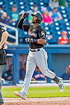 1 March 2017: Miami Marlins outfielder Isaac Galloway comes home to score after hitting a solo home run in the 7th inning of Spring Training action against the Houston Astros at the Ballpark of the Palm Beaches in West Palm Beach, Florida. The Marlins defeated the Astros 9-5 in Grapefruit League play. Mandatory Credit: Ed Wolfstein Photo *** RAW (NEF) Image File Available ***