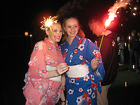 September 13, 2009; Mie, Japan;  Ukrainian rhythmic gymnasts light sparklers at banquet after 2009 World Championships Mie. Photo by Tom Theobald. .(Photo note: Waiting name id's for better caption. -T)