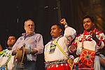 Mexican poet an activist Javier Sicilia and the members of the Regional Wixarica Council for the Defense of Wirikuta demand to respect the sacred place of Wirikuta during the Wirikuta Fest in Mexico City's Foro Sol, May 26, 2012. Almost sixty thousand people attended the Fest to support the struggle of the Wixarica Native people against the trasnational mining corporations. Photo by Heriberto Rodriguez