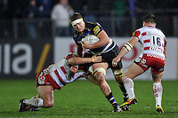 Tom Ellis of Bath Rugby takes on the Gloucester defence. Aviva Premiership match, between Bath Rugby and Gloucester Rugby on February 5, 2016 at the Recreation Ground in Bath, England. Photo by: Patrick Khachfe / Onside Images