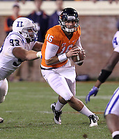 CHARLOTTESVILLE, VA- NOVEMBER 12: Quarterback Michael Rocco #16 of the Virginia Cavaliers receives pressure from guard Charlie Hatcher #93 of the Duke Blue Devils during the game on November 12, 2011 at Scott Stadium in Charlottesville, Virginia. Virginia defeated Duke 31-21. (Photo by Andrew Shurtleff/Getty Images) *** Local Caption *** Michael Rocco;Charlie Hatcher