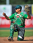 29 June 2012: Vermont Lake Monsters' catcher Bruce Maxwell warms up prior to a game against the Lowell Spinners at Centennial Field in Burlington, Vermont. Mandatory Credit: Ed Wolfstein Photo