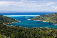 View of Haamene Bay and surrounding reefs of Tahaa Island