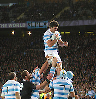 Rugby World Cup Auckland  New Zealand v Argentina Quarter Final 4 - 09/10/2011.Manuel Carizza (Argentina) catches the ball at the line out.Photo Frey Fotosports International/AMN Images