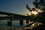 Sunset over the Spokane river and the HWY 395 bridge in Coeur D Alene Idaho