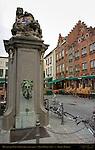 Monumental Pump in Eiermarkt Egg Market, Pieter Pepers 1761, Bruges, Brugge, Belgium