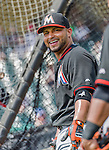 19 March 2015: Miami Marlins catcher Jhonatan Solano smiles outside the batting cage prior to a Spring Training game against the Atlanta Braves at Champion Stadium in the ESPN Wide World of Sports Complex in Kissimmee, Florida. The Braves defeated the Marlins 6-3 in Grapefruit League play. Mandatory Credit: Ed Wolfstein Photo *** RAW (NEF) Image File Available ***