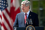 Canadian Prime Minister Stephen Harper listens to remarks during a joint press conference with U.S. President Obama and President Felipe Calderon of Mexico, in the Rose Garden of the White House in Washington DC, USA, 02 April 2012. President Obama hosted Canadian Prime Minister Harper and Mexican President Calderon for the North American Leaders' Summit (NALS). The leaders discussed cooperation on a variety of issues including economic growth, security, energy and climate change.