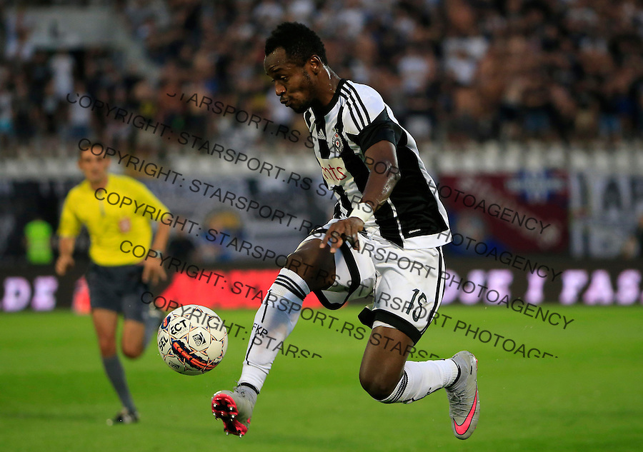 BELGRADE, SERBIA - AUGUST 29. Oumarou Aboubakar of FK Partizan in action during the Serbia Super League match between FK Partizan and OFK Belgrade at Partizan stadium in Belgrade, Serbia on Saturday, August 29, 2015. (Photo by Srdjan Stevanovic/Getty Images)