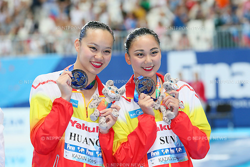 Xuechen Huang & Wenyan Sun (CHN), JULY 30, 2015 - Synchronised Swimming : 16th FINA World Championships Kazan 2015 Duets Free Routine Medal Ceremony  at Kazan Arena in Kazan, Russia. (Photo by Yohei Osada/AFLO SPORT)