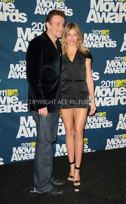 WWW.ACEPIXS.COM . . . . .  ....June 5 2011, Los Angeles....Actors Jason Segel and Cameron Diaz in the press room at the 2011 MTV Movie Awards at Universal Studios' Gibson Amphitheatre on June 5, 2011 in Universal City, California. ....Please byline: PETER WEST - ACE PICTURES.... *** ***..Ace Pictures, Inc:  ..Philip Vaughan (212) 243-8787 or (646) 679 0430..e-mail: info@acepixs.com..web: http://www.acepixs.com