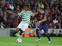FUSSBALL   INTERNATIONAL   CHAMPIONS LEAGUE   2012/2013      FC Barcelona - Celtic FC Glasgow       23.10.2012 Alexis Sanchez (re, Barca) gegen Efe Ambrose (Celtic)