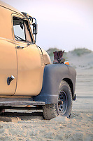 Photo of an old work truck on the beach with a pair of work boots on the fender.