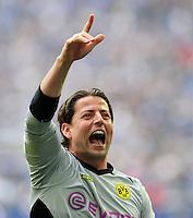 FUSSBALL   1. BUNDESLIGA   SAISON 2011/2012   31. SPIELTAG FC Schalke 04 - Borussia Dortmund                      14.04.2012 Jubel nach dem Abpfiff: Torwart Roman Weidenfeller (Borussia Dortmund)