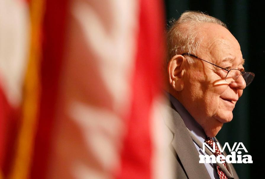NWA Democrat-Gazette/DAVID GOTTSCHALK  George Abraham, a Holocaust survivor, speaks Friday, November 6, 2015, during the 24th Annual Holocaust Conference at the Jones Center in Springdale.