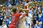 02 November 2013: Duke's Rodney Hood (5) and Drury's Drake Patterson (11). The Duke University Blue Devils played the Drury University Panthers in a men's college basketball exhibition game at Cameron Indoor Stadium in Durham, North Carolina. Duke won the game 81-65.