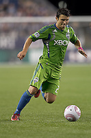 Seattle Sounders midfielder Servando Carrasco (23) on the wing. In a Major League Soccer (MLS) match, the Seattle Sounders FC defeated the New England Revolution, 2-1, at Gillette Stadium on October 1, 2011.