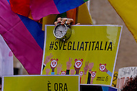 Rome, Italy. 2th Febraury 2016<br /> Supporters of same-sex civil union rally in front of the Italian Senate in support of the bill Cirinn&agrave;, to grant legal recognition to 'civil unions', including of homosexual couples, without equating those partnerships to marriage, that will begin to be voted in the Senate today.