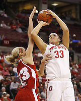 Ohio State's Ashley Adams (33) is fouled by Wisconsin's Cassie Rochel (43) during their NCAA basketball game Thursday, Feb. 7, 2013, in Columbus Ohio. (Photo for the Dispatch by Mike Munden)