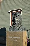 Statue of Norwegian Polar Explorer Roald Amundsen at the Polar Museum in Tromso, Norway.