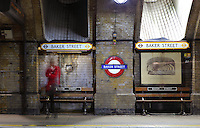 Off-peak hour at Baker Street station, with only one passenger waiting for the tube, London, UK. Picture by Manuel Cohen The use of this image may require further clearance / Merci de vous assurer que l'utilisation finale de l'image ne necessite pas d'autorisation supplementaire.