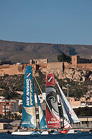 14th October 2011. Extreme Sailing Series 2011 - Act 8. Almeria. Spain.Oman Air skippered by Ben Ainslie (GBR). Tactician: Kinley Fowler (NZL).Trimmer: David Carr (GBR). Bowman: Nasser Al Mashari (OMA).
