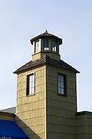 Wooden tower of a Victorian building in La Conner, Washington state, USA