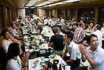 """Customers enjoy dinner and entertainment aboard a """"Yakata-bune"""" pleasure boat named """"Kachidoki"""", which is operated by Harumiya Co. in Tokyo, Japan on 31 August  2010. .Photographer: Robert Gilhooly"""