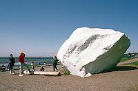 Glacial Erratic - a Big Granite Rock painted White - along Seaside Promenade Walkway and Beach at Semiahmoo Bay, White Rock, BC, British Columbia, Canada