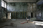RADIOACTIVITY CHERNOBYL, Exclusion zone. Ukraine. Pripyat town. School Gymn.Evacuated in 3 hours shortly after  the  reactor fire. The town was buildt only  15 years before. Eve of the 20th Anniversary of the fire in reactor 4 at Chernobyl power station in 1986. The fire started in the early hours of the 26th April 1986, The radioactive cloud  dispersed  worldwide. 250 thousand were evacuated. Exclusion zones exist in close vicinity of Chernobyl in Ukraine and Belarus where people will not be able to live for tens of thousands of years.