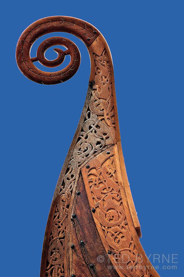 Viking ship masthead against blue sky