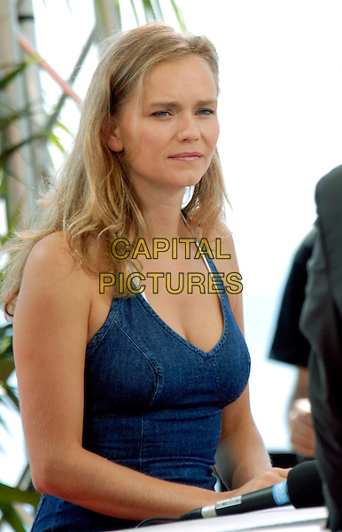 CLAIRE BOROTRA.Photocall during the 49th Monte Carlo Television Festival at the Grimaldi Forum, Monte-Carlo, Monaco..June 11th, 2009.half length dress hlaterneck blue.CAP/RD.©Richard Dean/Capital Pictures.