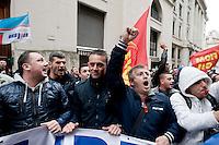 Roma 18 Novembre 2013<br />  Manifestazione degli operai della Indesit, davanti al ministero dello Sviluppo Economico, dove si tiene l'incontro tra sindacati e propriet&agrave;, contro  il piano esuberi che l'azienda a proposto  di 1.425 licenziamenti e   sul piano di ristrutturazione del gruppo elettrodomestico in Italia<br /> Rome November 18, 2013<br /> Demonstration of the workers of the Indesit, in  front of the Ministry of Economic Development, where the meeting is held between labor unions and ownership, against the redundancy plan in which the company proposed  of 1,425 layoffs and on the plan of restructuring of the group appliance in Italy