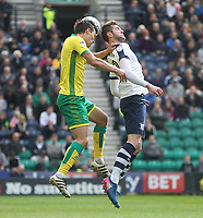 Preston North End's Tom Barkuizen jumps with Norwich City's Josh Murphy<br /> <br /> Photographer Mick Walker/CameraSport<br /> <br /> The EFL Sky Bet Championship - Preston North End v Norwich City - Monday 17th April 2017 - Deepdale - Preston<br /> <br /> World Copyright &copy; 2017 CameraSport. All rights reserved. 43 Linden Ave. Countesthorpe. Leicester. England. LE8 5PG - Tel: +44 (0) 116 277 4147 - admin@camerasport.com - www.camerasport.com