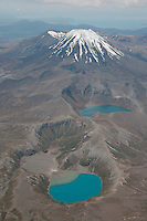 Ngauruhoe Cone of Tongariro Volcano and Tama Lakes, New Zealand.