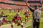 San Francisco 49ers running back Shaun Draughn (24) celebrates touchdown on Sunday, October 23, 2016, at Levis Stadium in Santa Clara, California. The Buccaneers defeated the 49ers 34-17.