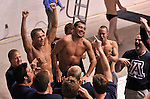 24 MAR 2012:  Ben Grado of the University of Arizona celebrates with teammates after winning the platform diving competition during the Division I Men's Swimming and Diving Championship held at the Weyerhaeuser King County Aquatic Center in Seattle, WA. Grado won the event and was also named Diver of the Meet.  Rod Mar/ NCAA Photos