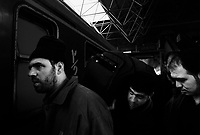 Teheran, Iran, March 17, 2007..Pilgrims hurry to catch a train for a 14 hours journey across Iran to the city of Mashad, in a pilgrimage to the Imam Reza shrine, one of the main holy sites for Shia muslems..Thousands Iranians traditionally make this pilgrimage during the Norouz (Persian New Year, March 21st) holidays.