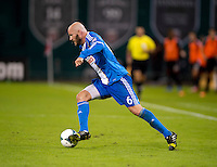 Conor Casey (6) of the Philadelphia Union brings the ball forward during a Major League Soccer game at RFK Stadium in Washington, DC. D.C. United tied the Philadelphia Union, 1-1.