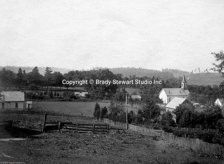 Hopedale Ohio: While taking progress photographs for the Wabash railroad, Brady Stewart stopped to capture this photo of the town of Hopedale - 1903