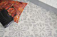 Arabella, a handmade mosaic shown in tumbled  Paperwhite and Bardiglio with a honed and pillowed 3&rdquo;x 6&rdquo; Paperwhite Bricks, is part of The Studio Line of Ready to Ship mosaics. All mosaics in this collection are ready to ship within 48 hours. <br />