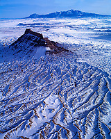 Factory Butte in WInter  Proposed San Rafael Wilderness,  Utah   Aerial View  February.  Near San Rafael Swell