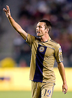 Philadelphia Union rookie forward Jack McInerney (19) looking for the ball. The Philadelphia Union and CD Chivas USA played to 1-1 draw at Home Depot Center stadium in Carson, California on Saturday evening July 3, 2010..