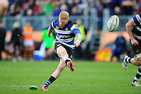 Tom Homer of Bath Rugby kicks for the posts. Aviva Premiership match, between Bath Rugby and Wasps on March 4, 2017 at the Recreation Ground in Bath, England. Photo by: Patrick Khachfe / Onside Images