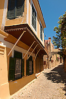 House & narrow lanes of the medieval  Turkish area of Rhodes, Greece. UNESCO World Heritage Site